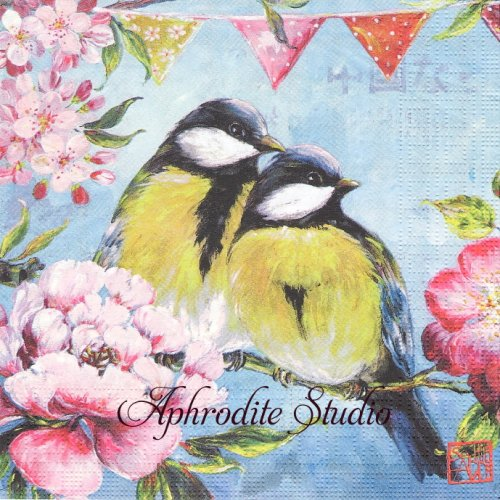 Printemps  2羽の小鳥 SOPHIE ADDE 1枚 バラ売り 33cm ペーパーナプキン ppd