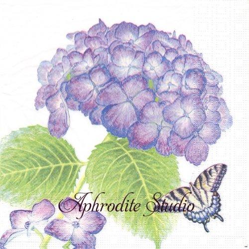 Hydrangea & Butterfly 1枚 バラ売り 33cm ペーパーナプキン ppd