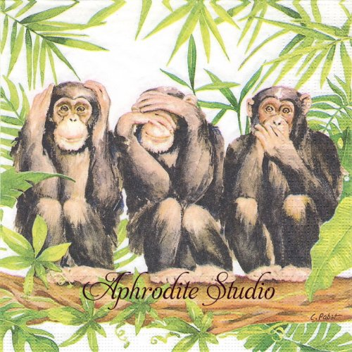Three Apes 1枚 バラ売り 33cm ペーパーナプキン ppd