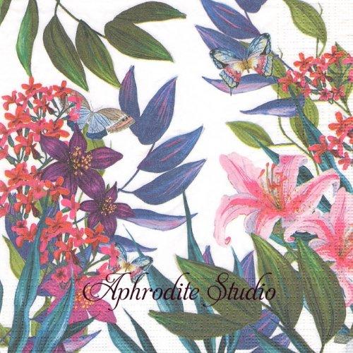 Tropical Lilies トロピカルリリー 百合の花 1枚 バラ売り 33cm ペーパーナプキン ppd