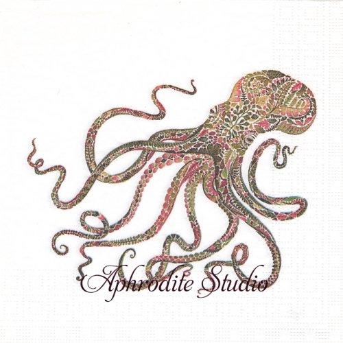 Green Octopus 1枚 バラ売り 33cm ペーパーナプキン ppd
