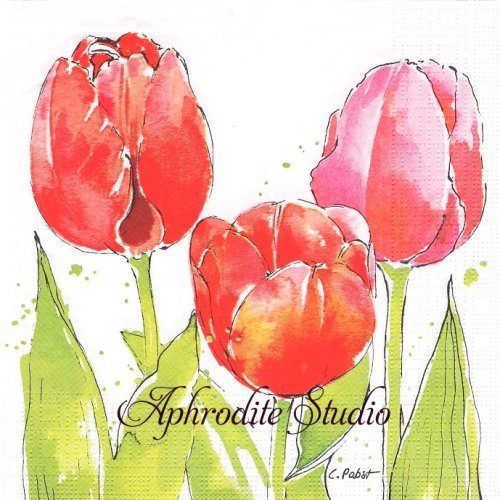 Pink Tulips 1枚 バラ売り 33cm ペーパーナプキン ppd