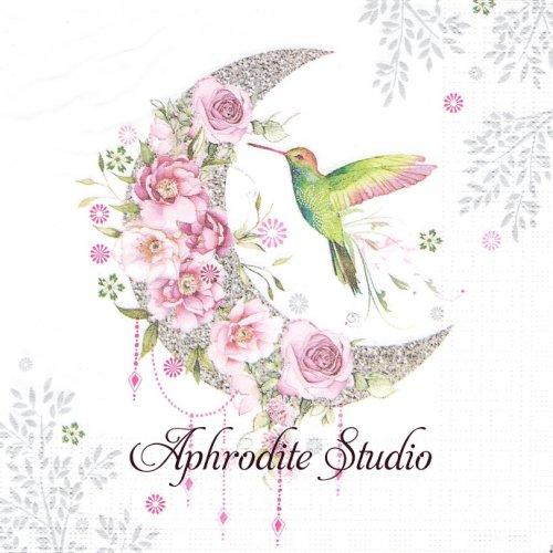 Hummingbird Moon ハミングバードムーン 小鳥と月と花 1枚 バラ売り 33cm ペーパーナプキン ppd