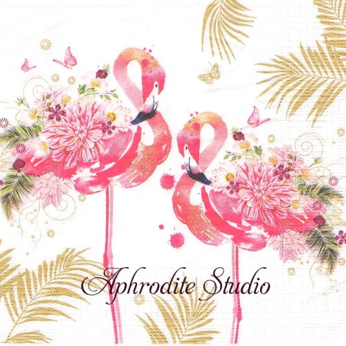 <img class='new_mark_img1' src='https://img.shop-pro.jp/img/new/icons14.gif' style='border:none;display:inline;margin:0px;padding:0px;width:auto;' />Floral Flamingos 花のフラミンゴ 1枚 バラ売り 33cm ペーパーナプキン ppd
