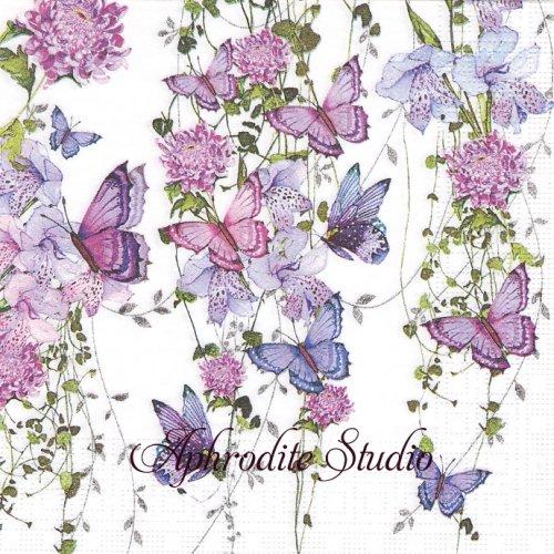 Butterfly Splash 紫色の花と蝶 1枚 バラ売り 33cm ペーパーナプキン ppd
