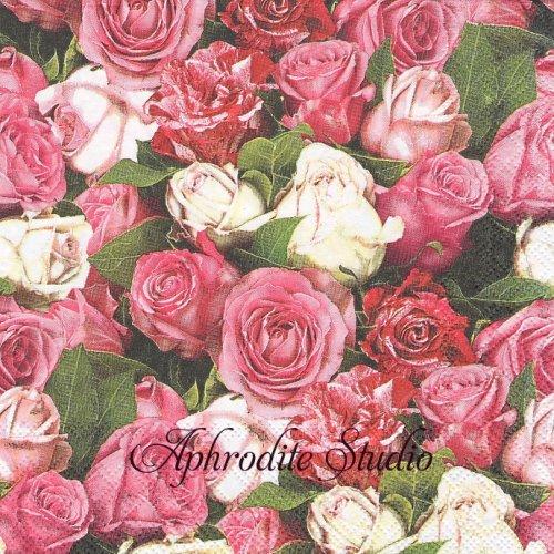 Roses All Over ピンク色の薔薇 1枚 バラ売り 33cm ペーパーナプキン Ambiente