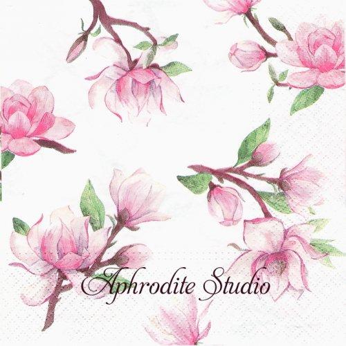 Magnolia Springs ピンクのマグノリア 木蓮 1枚 バラ売り 33cm ペーパーナプキン TETEaTETE