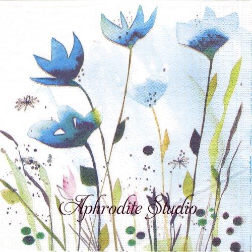 Aquarell Cornflowers ブルーの花 1枚 バラ売り 33cm ペーパーナプキン ppd