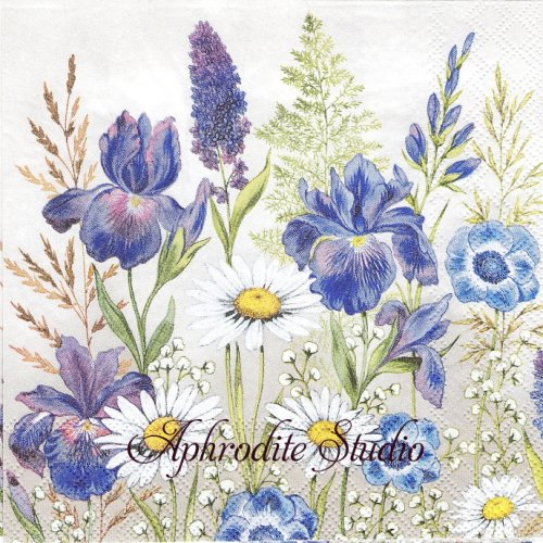 Mixed Meadow Flowers ブルーの花 1枚 バラ売り 33cm ペーパーナプキン Ambiente