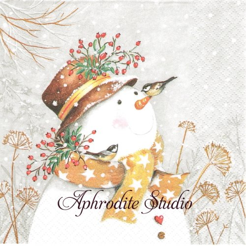 <img class='new_mark_img1' src='https://img.shop-pro.jp/img/new/icons14.gif' style='border:none;display:inline;margin:0px;padding:0px;width:auto;' />Snowman with Golden Scarf マフラースノーマン  1枚 バラ売り 33cm ペーパーナプキン ti-flair