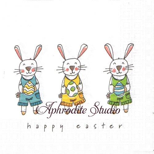 Easter Fun イースターの兎 ラビット バニー 1枚 バラ売り 33cm ペーパーナプキン ppd
