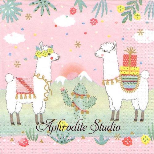 Pastel Llamas パステルカラーのリャマ 1枚 バラ売り 33cm ペーパーナプキン ppd