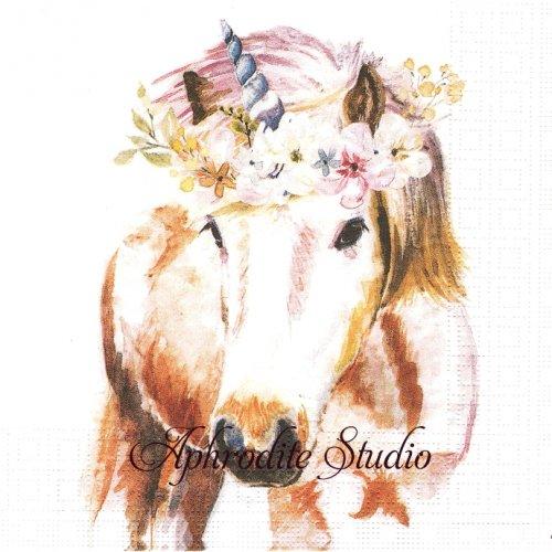 Pretty Unicorn 水彩画のユニコーン 1枚 バラ売り 33cm ペーパーナプキン ppd