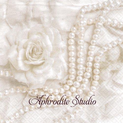 Petals & Pearls 花びらとパール 1枚 バラ売り 33cm ペーパーナプキン ti-flair