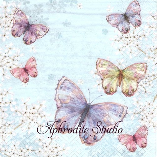 Bellissima Farfalla blue 蝶 1枚 バラ売り 33cm ペーパーナプキン ti-flair