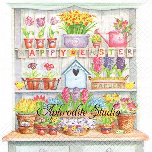 <img class='new_mark_img1' src='https://img.shop-pro.jp/img/new/icons14.gif' style='border:none;display:inline;margin:0px;padding:0px;width:auto;' />Happy Easter Cupboard イースターの棚 1枚 バラ売り 33cm ペーパーナプキン ti-flair