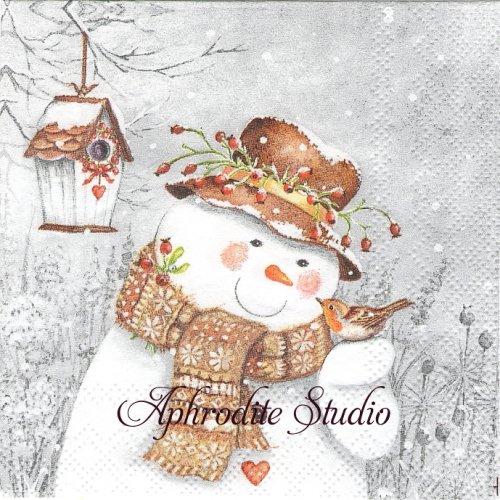 25cm SNOWMAN HOLDING ROBIN 小鳥とスノーマン 雪だるま 1枚 バラ売り ペーパーナプキン Ambiente