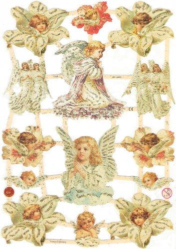 ☆ドイツ製クロモス【7348s】花から生まれた天使 エンジェル*シルバーラメ/1シート/アンティークなカ—ド作りに