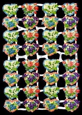 ☆ドイツ製クロモス【7132】鈴蘭、菫、わすれな草とハート 1シート アンティークなカ—ド作りに