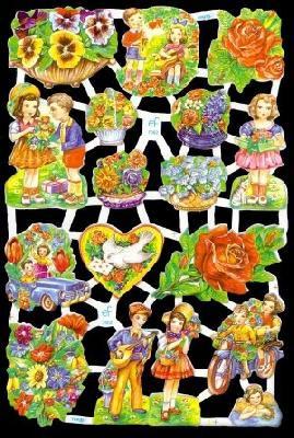 ☆ドイツ製クロモス【7002】薔薇と子供 1シート アンティークなカ—ド作りに