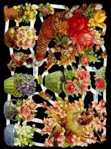 ☆ドイツ製クロモス【7186】小鳥と花瓶や鉢植えの花 1シート アンティークなカ—ド作りに