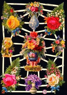 ☆ドイツ製クロモス【7266】花瓶の花 1シート アンティークなカ—ド作りに