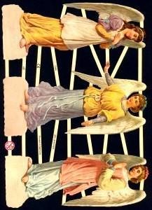 ☆ドイツ製クロモス【7284】3人の天使 1シート アンティークなカ—ド作りに