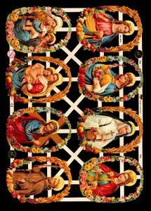☆ドイツ製クロモス【7334】マリアとイエス 宗教画 1シート アンティークなカ—ド作りに