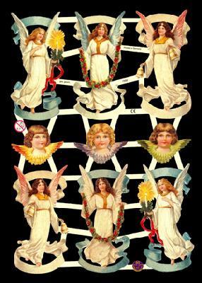 ☆ドイツ製クロモス【7332】天使 1シート アンティークなカ—ド作りに