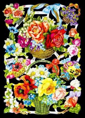 ☆ドイツ製クロモス【7111-S】花のバスケットシルバーラメ 1シート/アンティークなカ—ド作りに