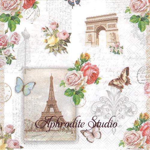PARIS MOMENTS パリ エッフェル塔・凱旋門と薔薇のコラージュ 1枚 バラ売り 33cm ペーパーナプキン Ambiente