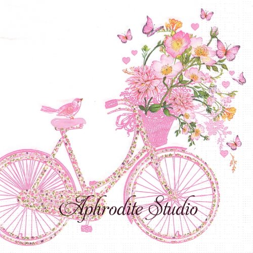 Happy Bike ハッピーになる花かご自転車1枚 バラ売り 33cm ペーパーナプキン ppd