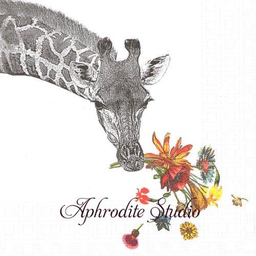 25cm Happy Giraffe 花とキリン 1枚 バラ売り ペーパーナプキン ppd