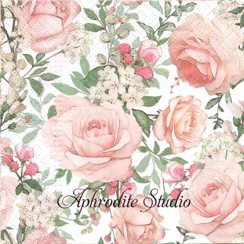 25cm Gorgeous Roses ピンクの薔薇 1枚 バラ売り ペーパーナプキン Paw