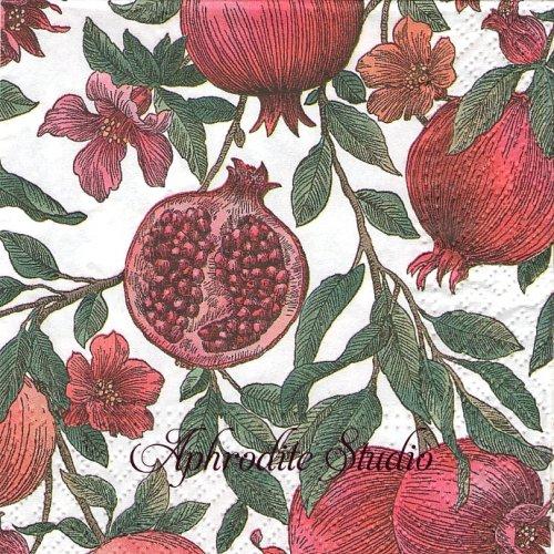 25cm Pomagranate ザクロ 1枚 バラ売り ペーパーナプキン Paw