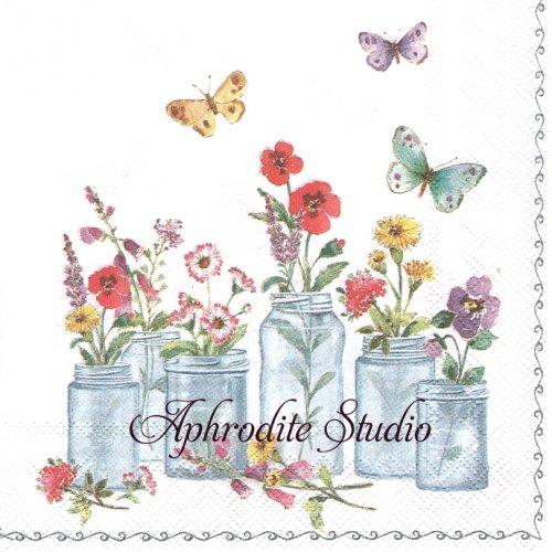 25cm SUMMER JARS ガラス瓶に挿した野の花1枚 バラ売り ペーパーナプキン Ihr 1枚 バラ売り ペーパーナプキン Ihr