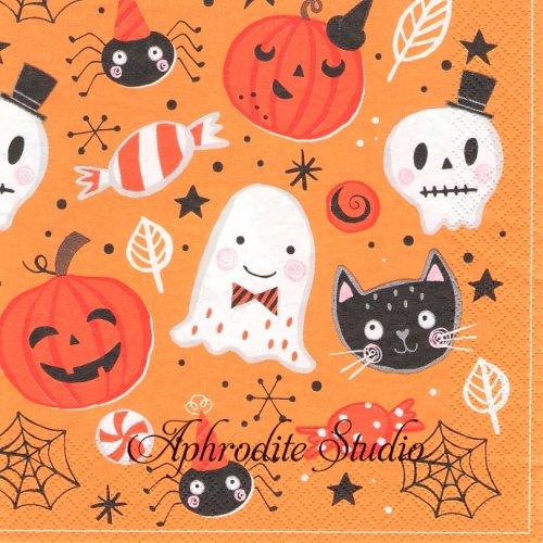 《プレビュー中・発注前》Orange Halloween Booo ハロウィン 1枚 バラ売り 33cm ペーパーナプキン Daisy
