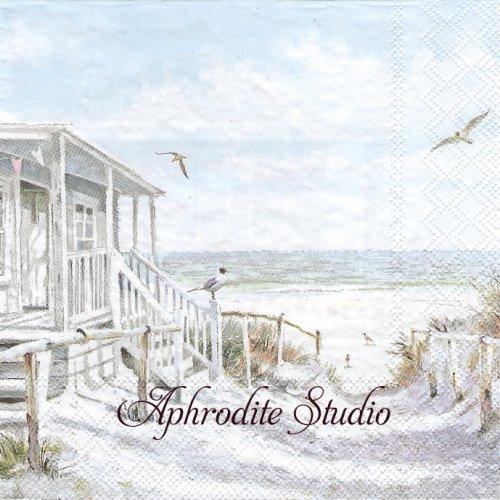 《プレビュー中・発注前》Beach Cabin 1枚 バラ売り 33cm ペーパーナプキン Ambiente