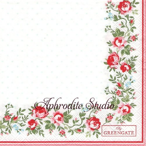 25cm 北欧 グリーン・ゲート Gabby 小さな薔薇のブーケ 1枚 バラ売り ペーパーナプキン GREENGATE