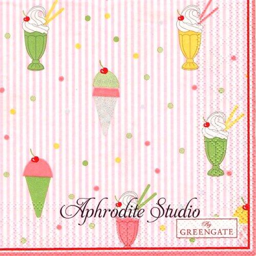 25cm 北欧 グリーン・ゲート Isa ピンク アイスクリーム 1枚 バラ売り ペーパーナプキン GREENGATE