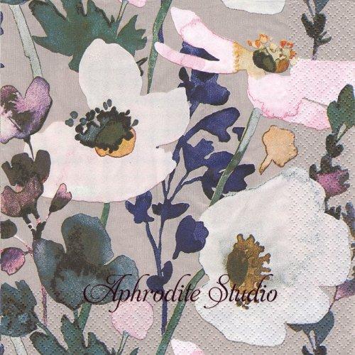 北欧 ペンティック Anemone グレーベージュ アネモネの花  1枚 バラ売り 33cm ペーパーナプキン PENTIK