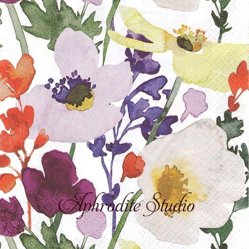 北欧 ペンティック Anemone ホワイト アネモネの花  1枚 バラ売り 33cm ペーパーナプキン PENTIK