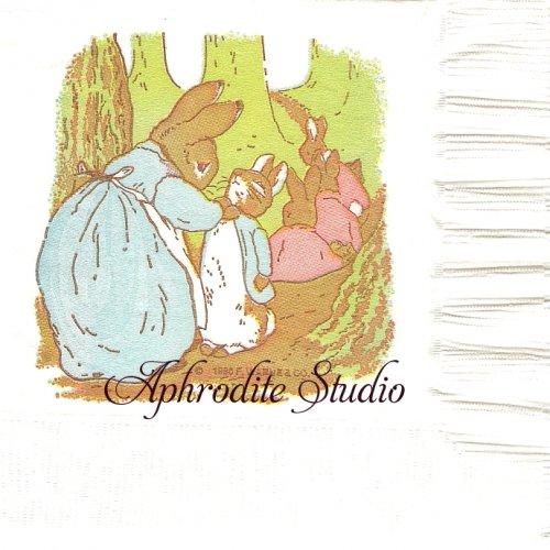 25cm レア柄 ヴィンテージ ピーターラビット  Beatrix Potter キャラクター 1枚 バラ売り ペーパーナプキン  Peter Rabbit