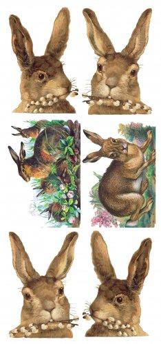 茶毛のウサギのステッカー 1シート ヴィクトリアン ステッカー シール ラッピング