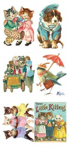 犬と猫、小鳥のウサギのステッカー 1シート ヴィクトリアン ステッカー シール ラッピング
