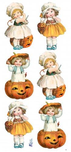 子供とかぼちゃのハロウィンのステッカー 1シート ヴィクトリアン ステッカー シール ラッピング