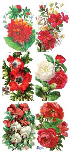赤い花束のステッカー 1シート ヴィクトリアン ステッカー シール ラッピング