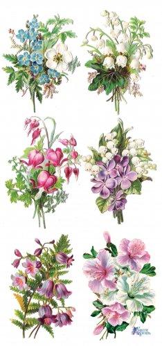 清楚な花のステッカー 1シート ヴィクトリアン ステッカー シール ラッピング