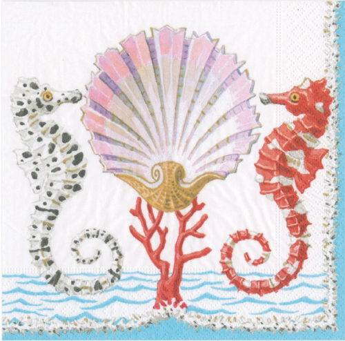 <img class='new_mark_img1' src='https://img.shop-pro.jp/img/new/icons14.gif' style='border:none;display:inline;margin:0px;padding:0px;width:auto;' />カスパリ SEAHORSES AND SHELL タツノオトシゴとシェル 貝 1枚 バラ売り 33cm ペーパーナプキン  Caspari