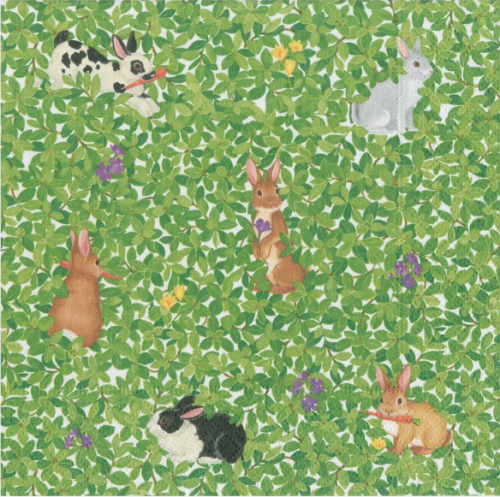 <img class='new_mark_img1' src='https://img.shop-pro.jp/img/new/icons14.gif' style='border:none;display:inline;margin:0px;padding:0px;width:auto;' />カスパリ Bunnies and Boxwood 1枚 バラ売り 33cm ペーパーナプキン  Caspari